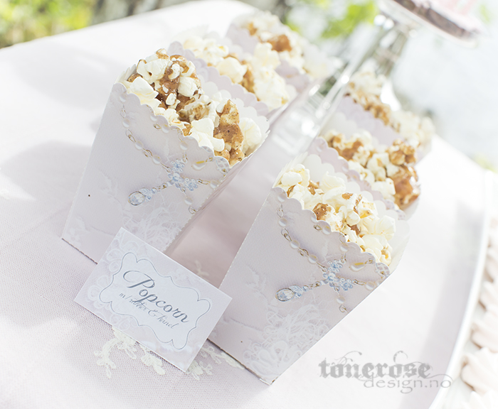 Vakre rosa blonde popcornbokser og etiketter - kjempesøte til bryllup, konfirmasjon osv