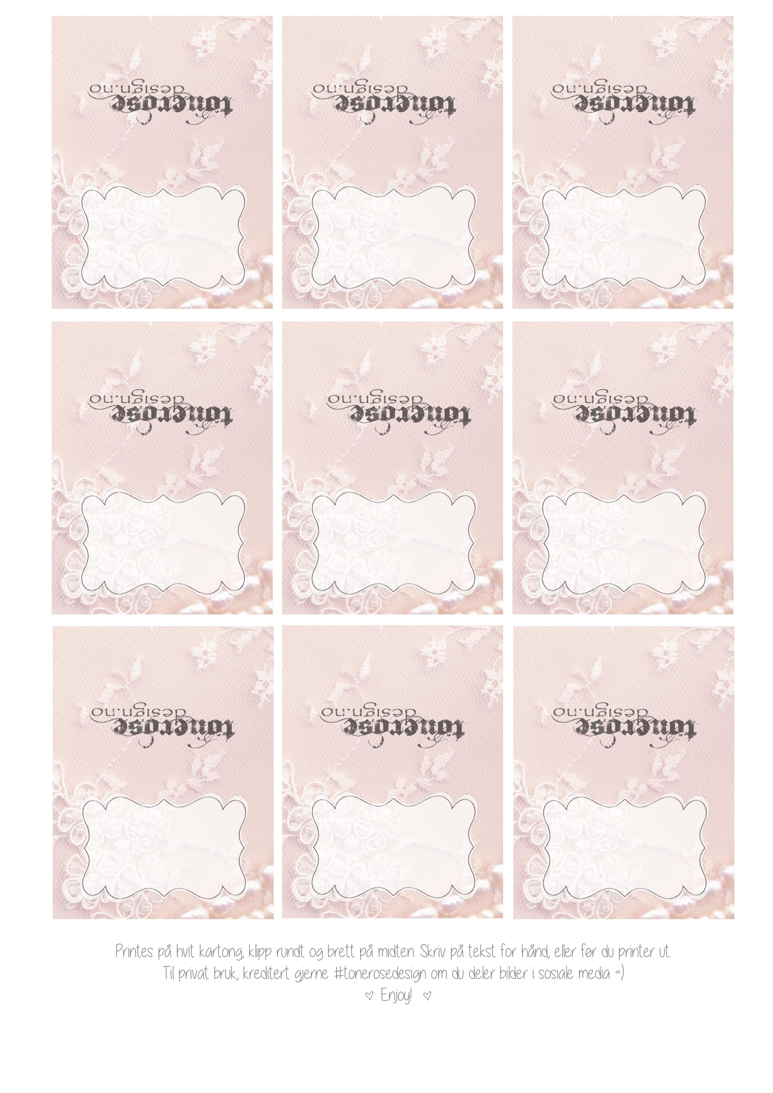 Free printable lace - Gratis print vakre blonde etiketter bryllup barnedåp