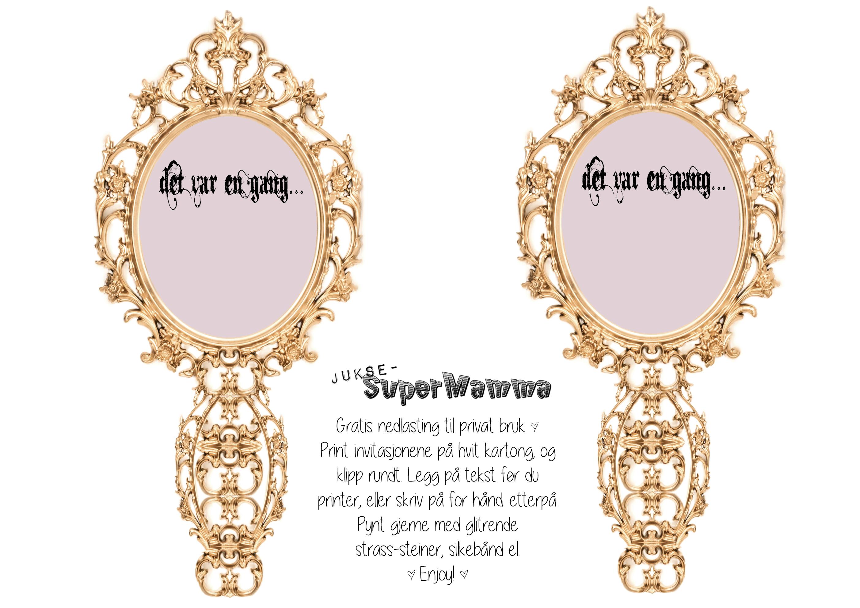 invitasjon eventyrbursdag speil tonerosedesign