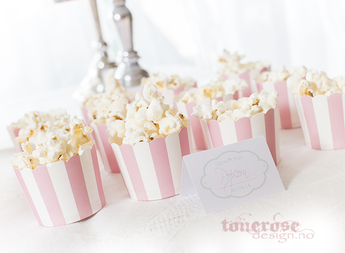 tips til kakebordet - popcorn i cupackeformer, barnedåp