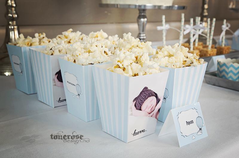Personlige popcornbegre lyseblå striper - popcorn bokser