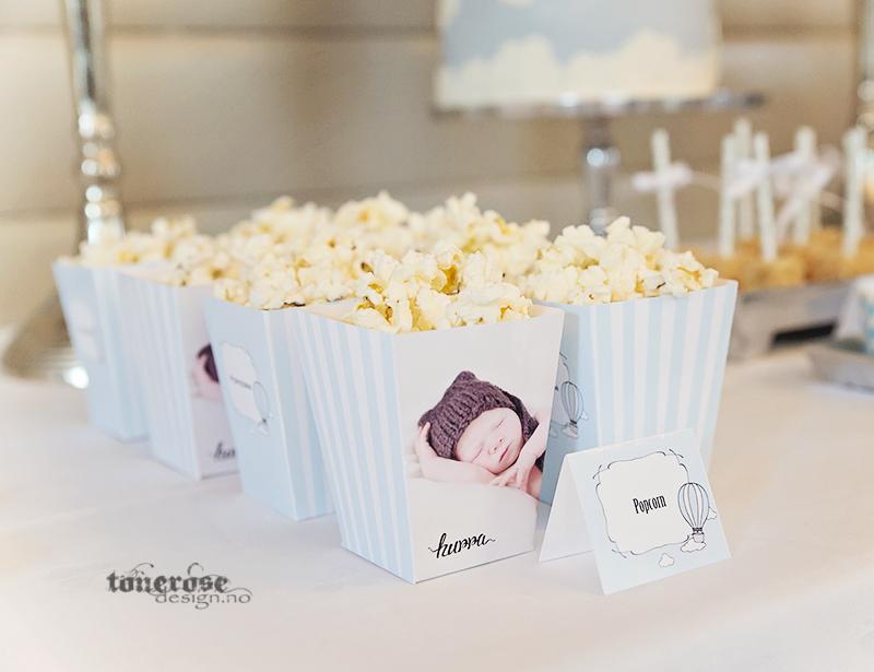Personlige popcornbokser til dessertbordet, kjempesøte til barnedåp