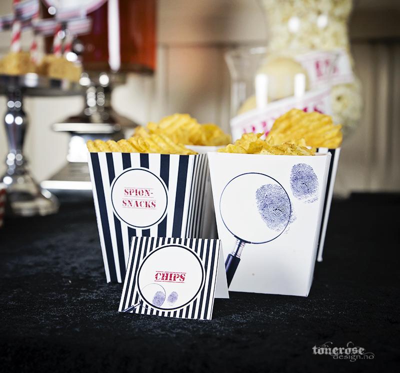 Popcornbegre spion bursdag fylt med potetgull