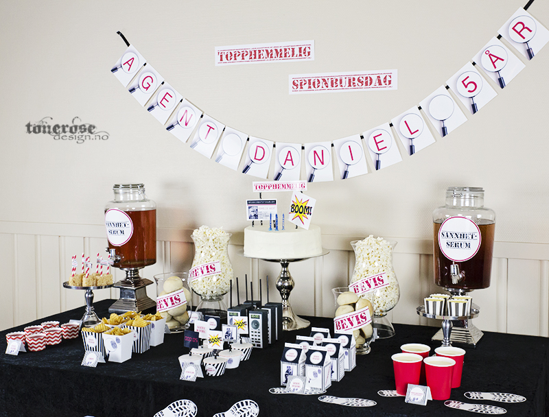 Topphemmelig spionbursdag - dessertbord / kakebord