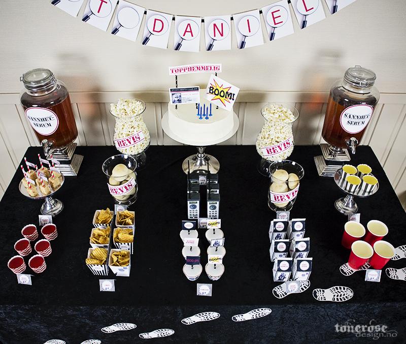 Spionbursdag dessertbord / kakebord spion barnebursdag