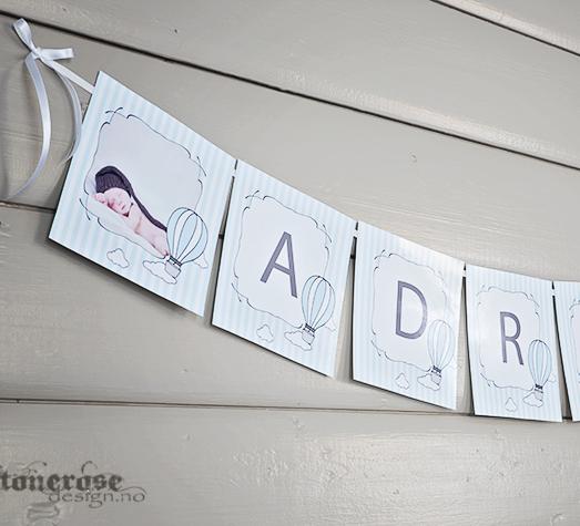 Tips til barnedåp - personlige banner / vimpelrekke