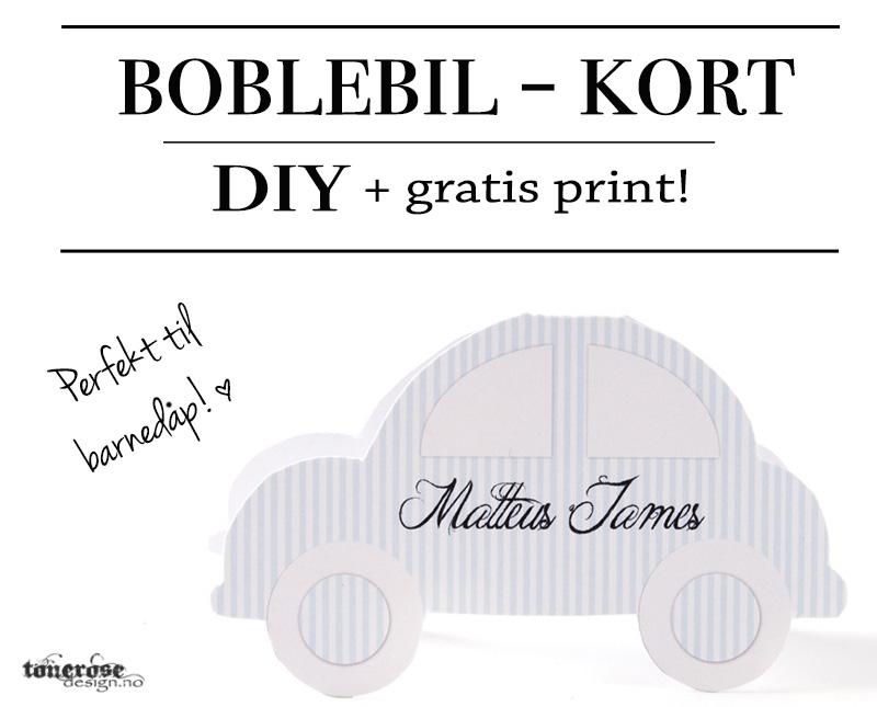 Boblebil diy kort gratis takkekort invitasjon dåpskort