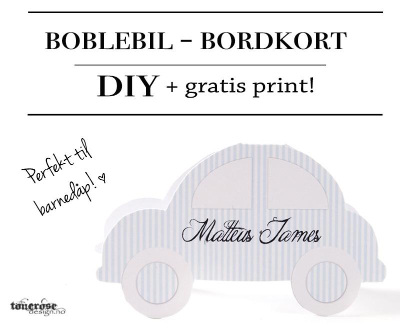 Bordkort boblebil barnedåp gratis print