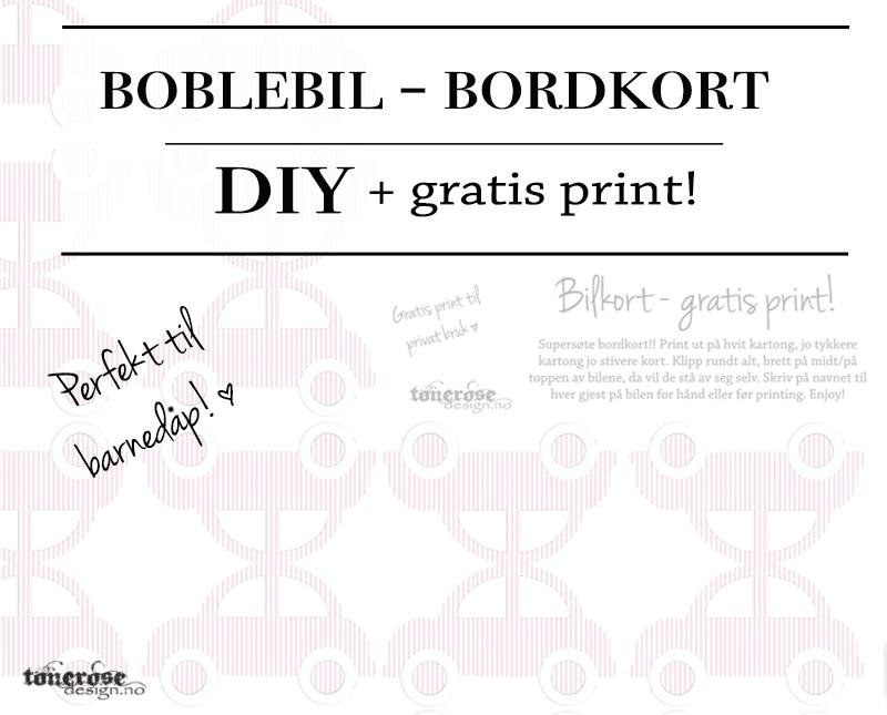 Bordkort boblebil gratis print rosa blå dåp