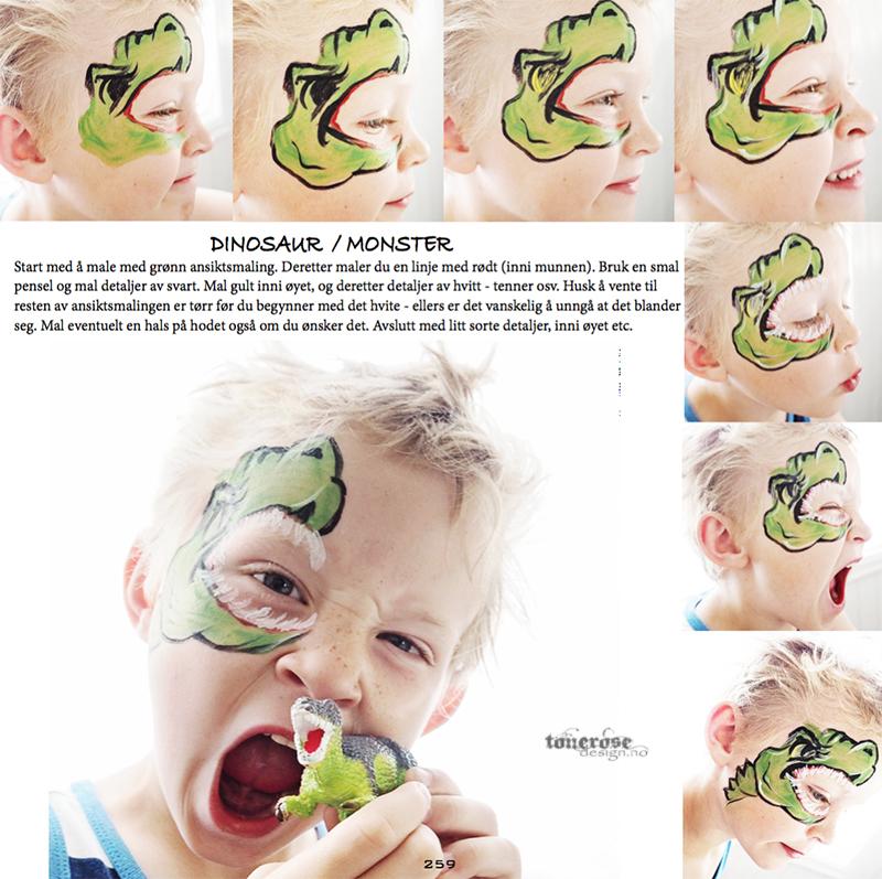 JukseSuperMamma ansiktsmaling trinn for trinn dinosaur