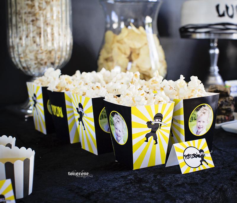 Ninja bursdag dessertbord popcornbokser ninja KL5A3673
