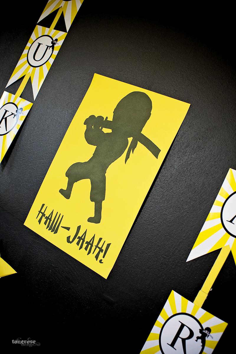 Ninja bursdag tegning bakgrunn kakebord KL5A3704