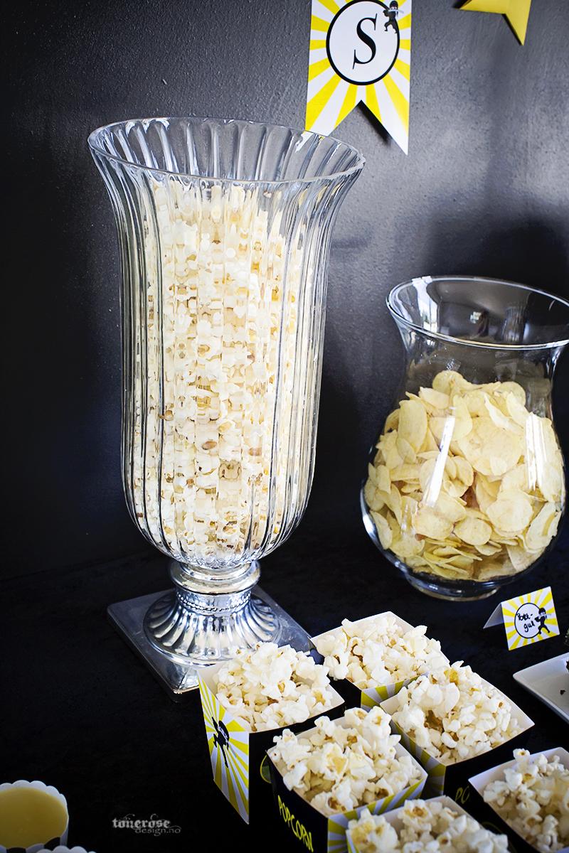 Ninja party barnebursdag dessertbord popcorn KL5A3687