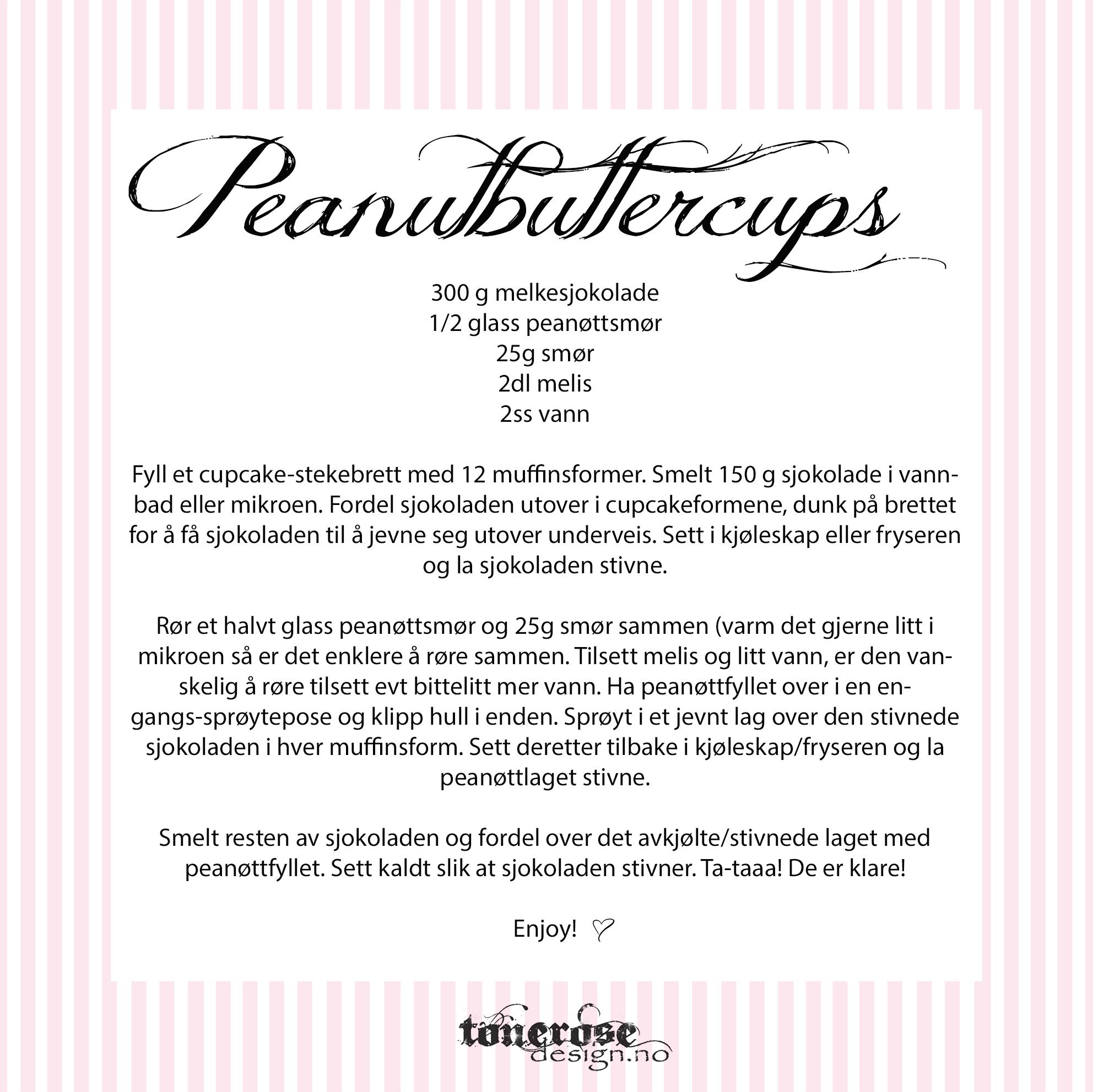 Peanutbuttercups hjemmelagede oppskrift
