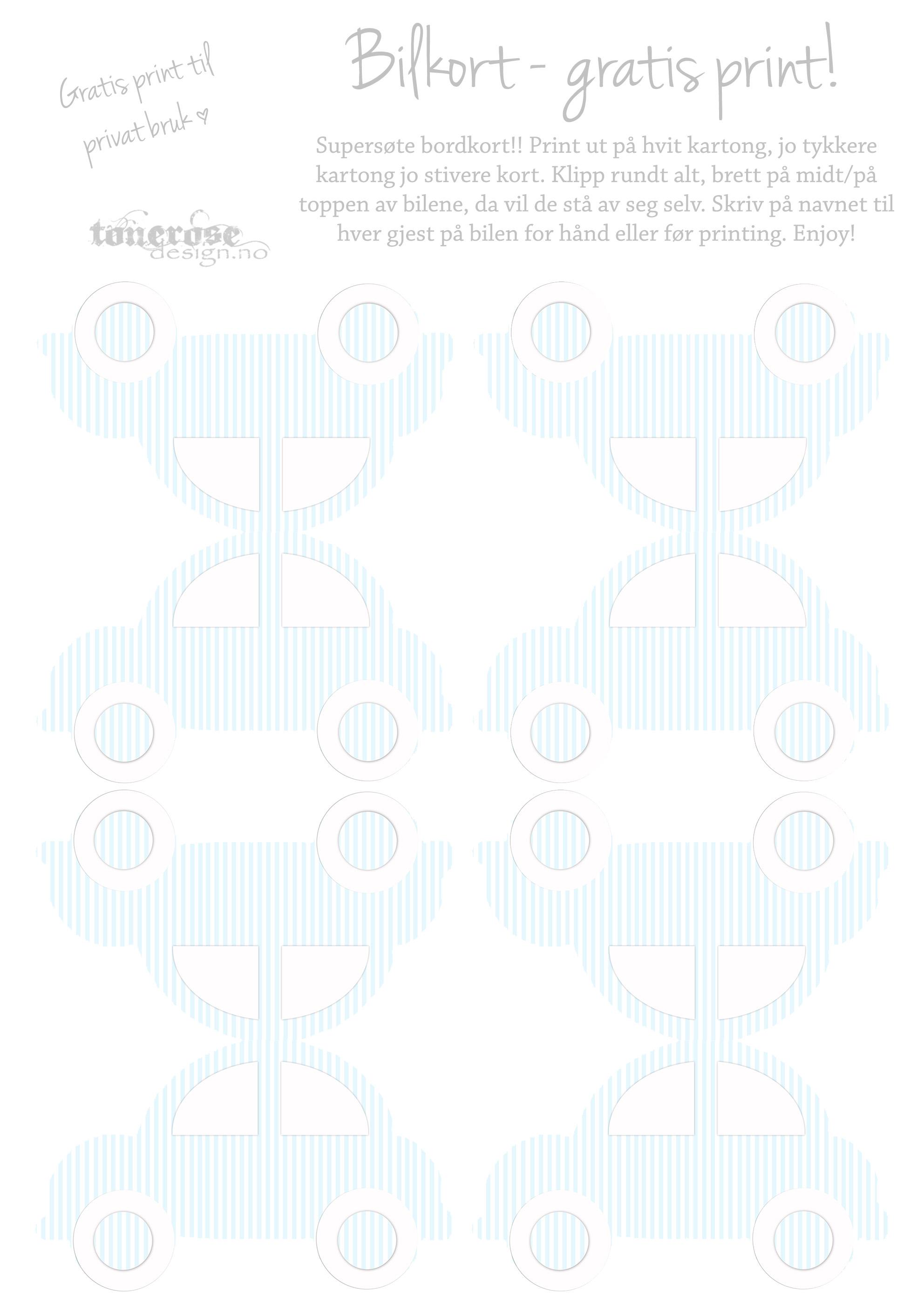 Boblebil bordkort gratis print tonerose design