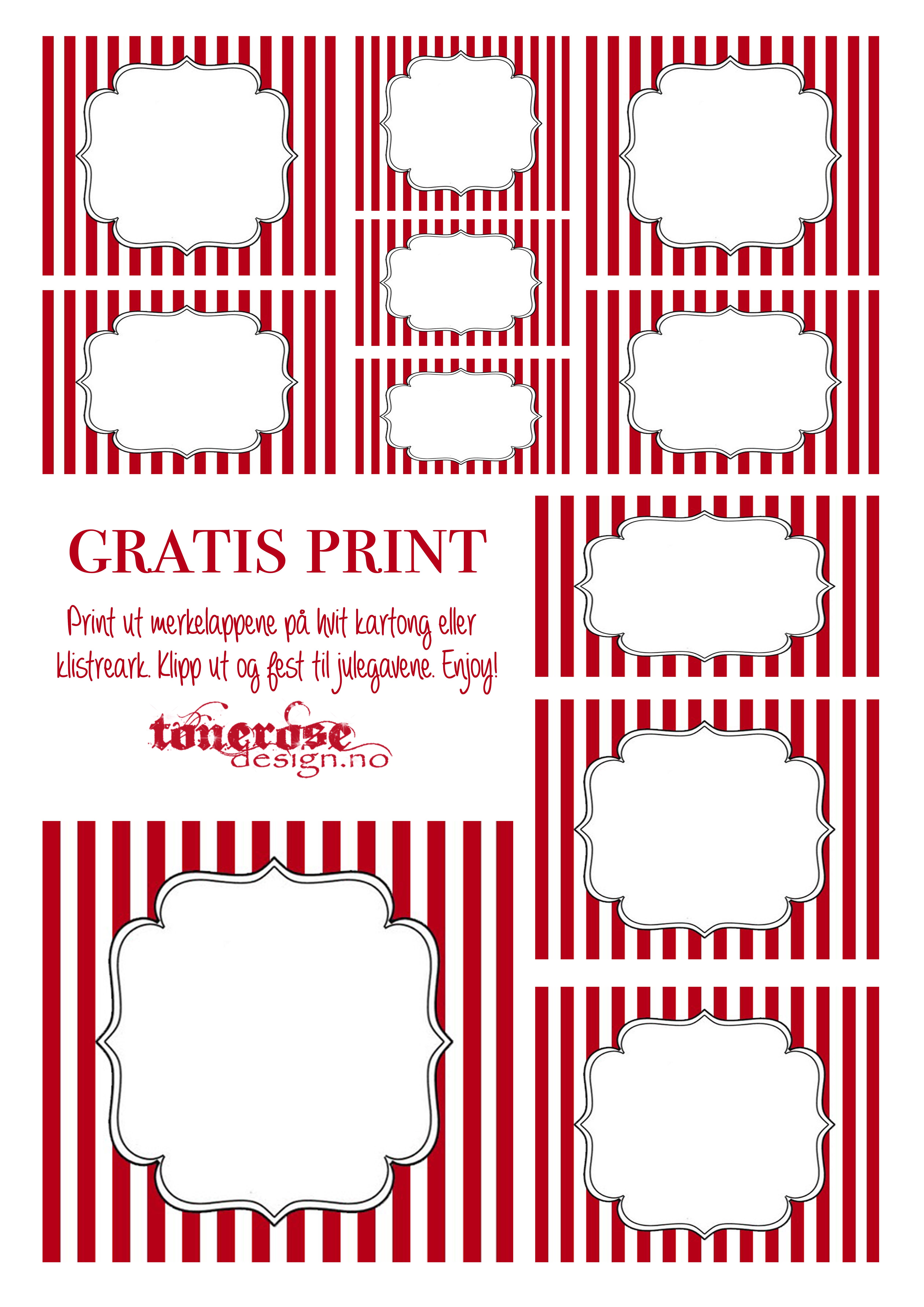 Julegavelapper gratis ToneroseDesign merkelapper jul etiketter