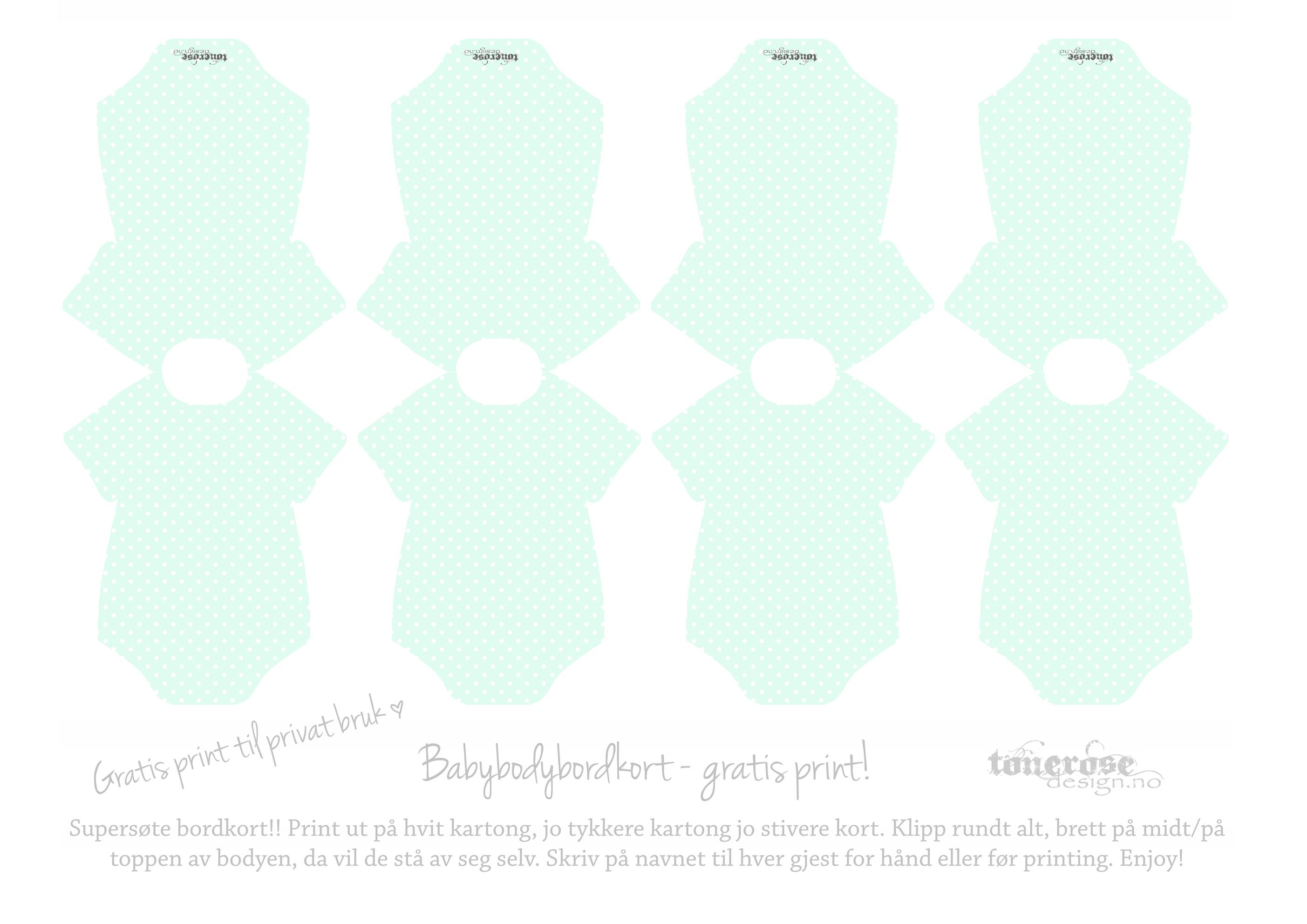 Mintgrønne bordkort barnedåp body baby ToneroseDesign komp