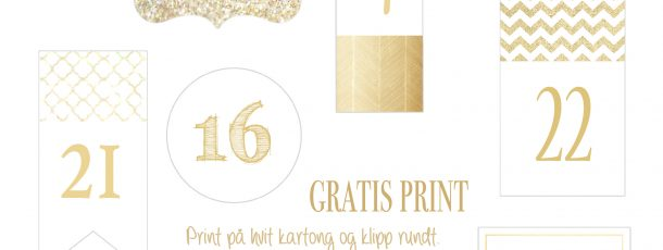{ Gratis tall til adventskalender // Julekalender // Glitter & gull }