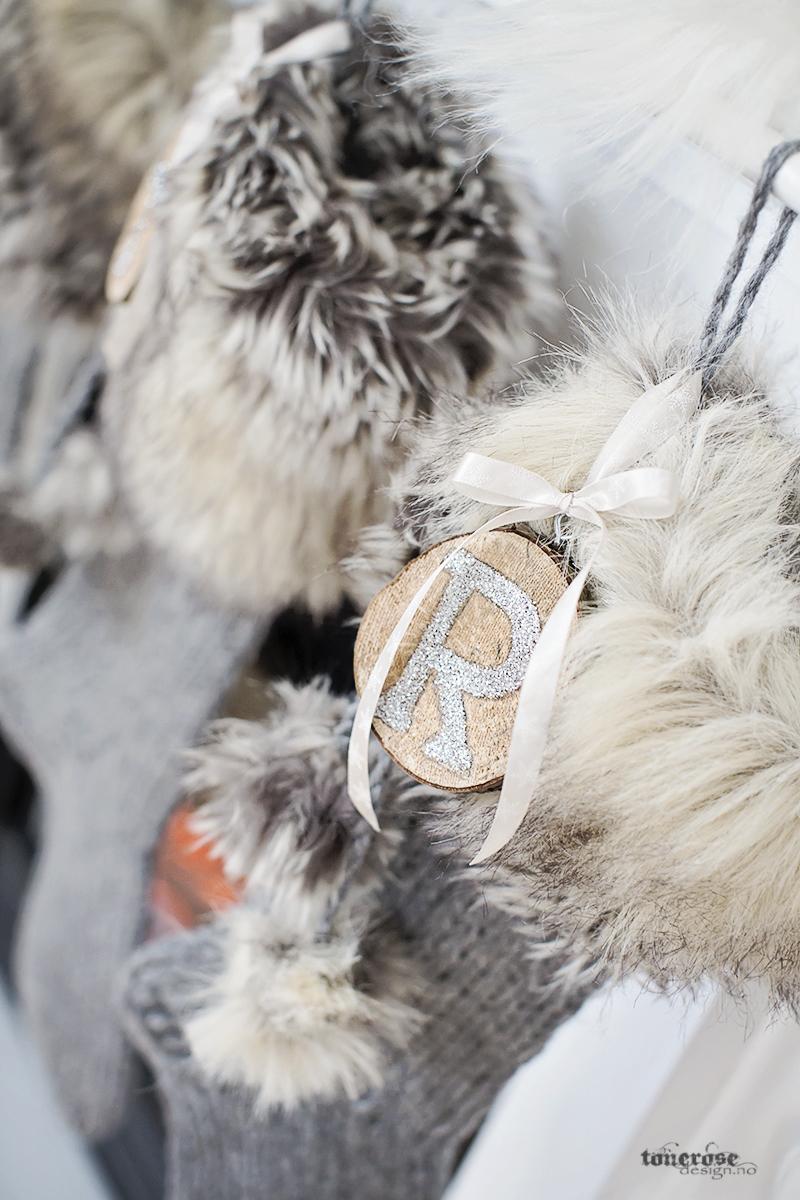 Håndlaget julestrømpe rustikk pels strikk garn KL5A5955