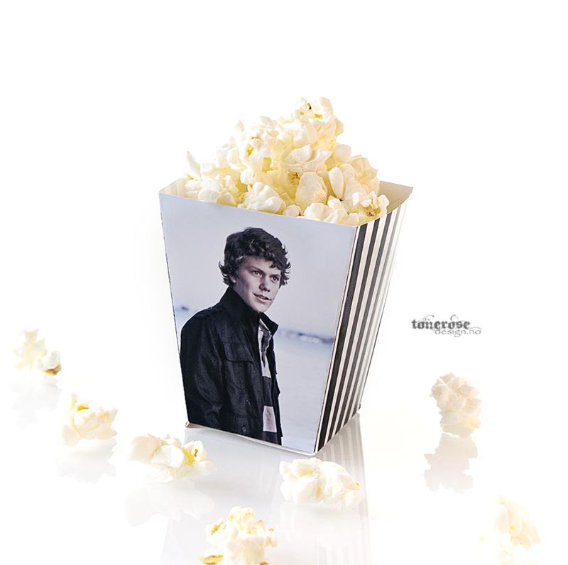 konfirmasjon popcornbeger med bilde av konfirmanten