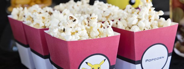 { Gratis popcornbeger – perfekt til Pokémon-party! }